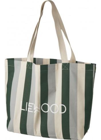 Tote Bag | large/gestreept: garden green/sandy/dove blue