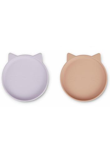 Olivia Siliconen bordjes   cat light lavender rose mix
