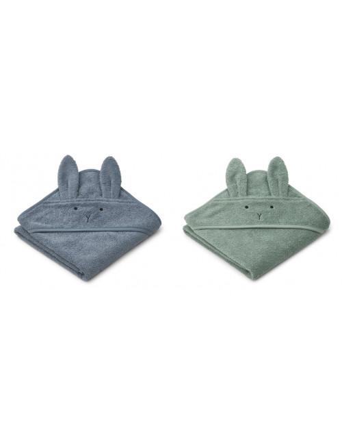 Badcape (baby) Albert set van 2 | konijn blauwe mix