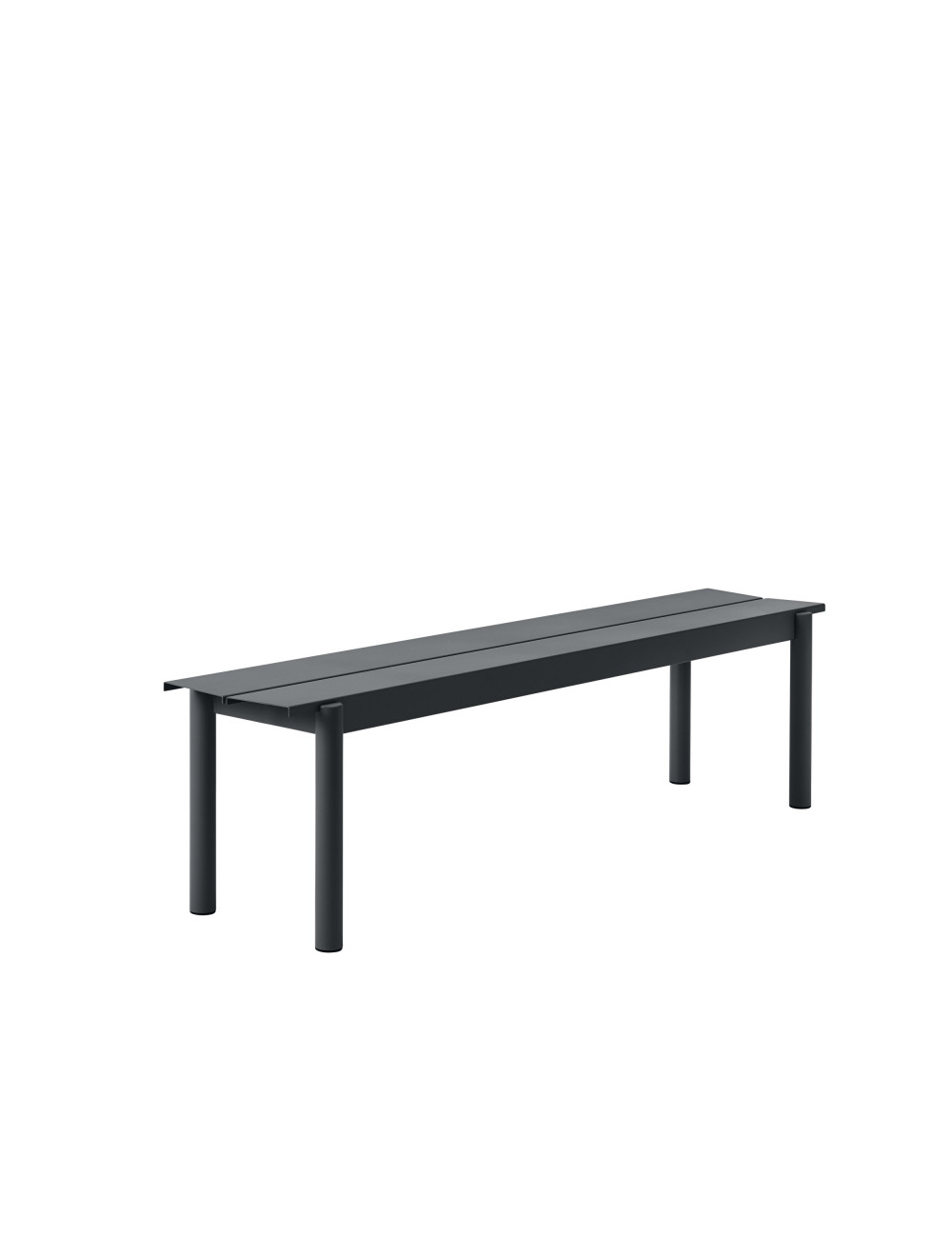 Linear Steel Outdoor Bank | zwart