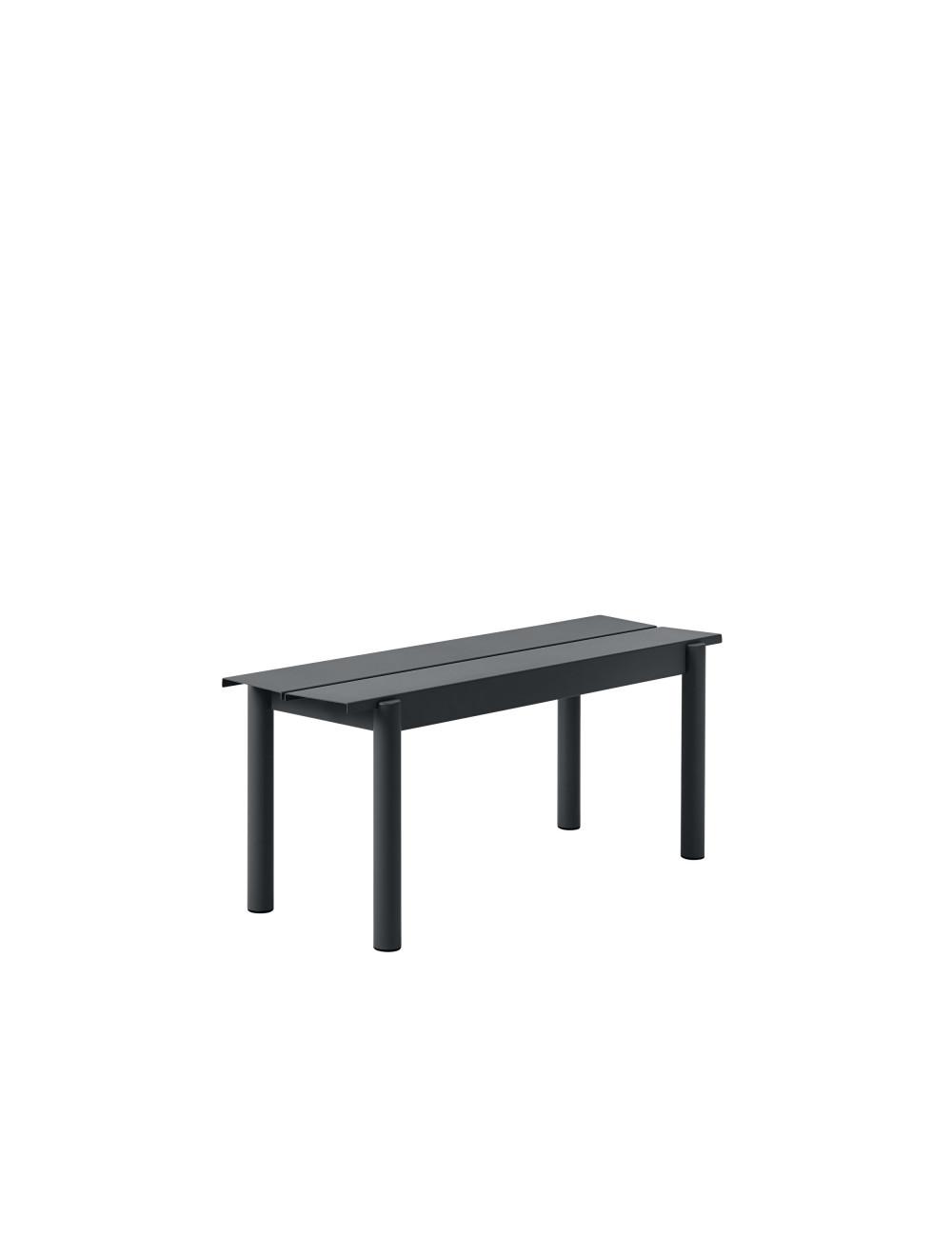 Linear Steel Outdoor Bank | zwart