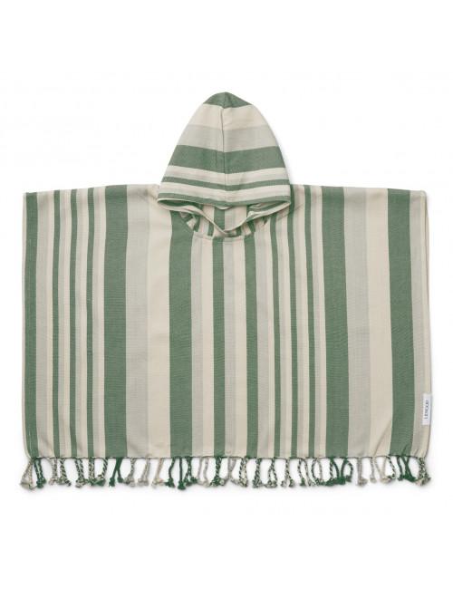 Roomie Poncho | stripe garden green/sandy/dove blue
