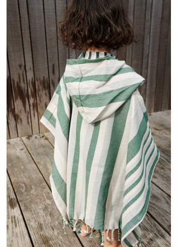 Roomie Poncho | stripe garden green/sandy/dove blue