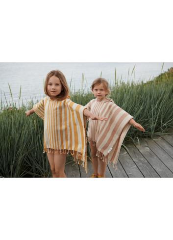Roomie Poncho | stripe mustard/sandy