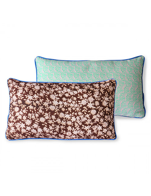 Kussen met print Doris | bruin floral/green leave