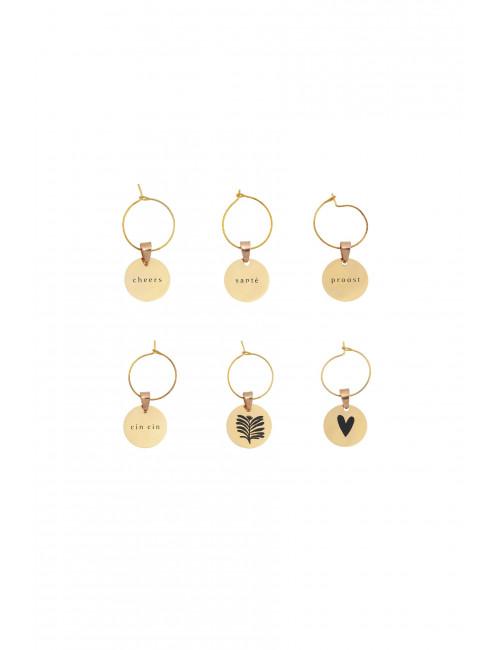 Wijnglas Hangers Metaal (set van 6) | goud