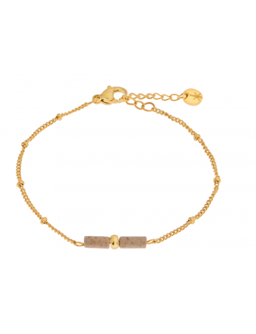 Armbandje Brown Agate | goud