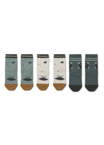 Silas katoenen sokjes (set van 3) | space blue mix