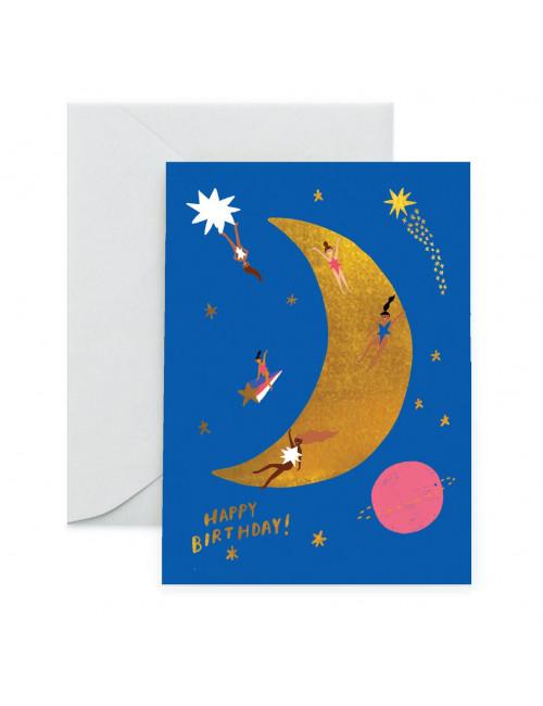 Wenskaart | happy birthday/moonlanding