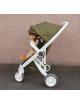 Kinderwagen | wit chassis met olijfgroene bekleding