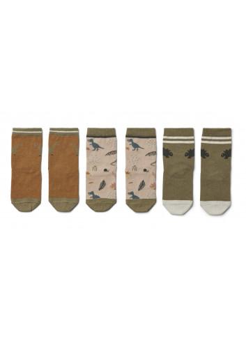 Silas Katoenen sokjes (set v 3) | dino dark sandy mix
