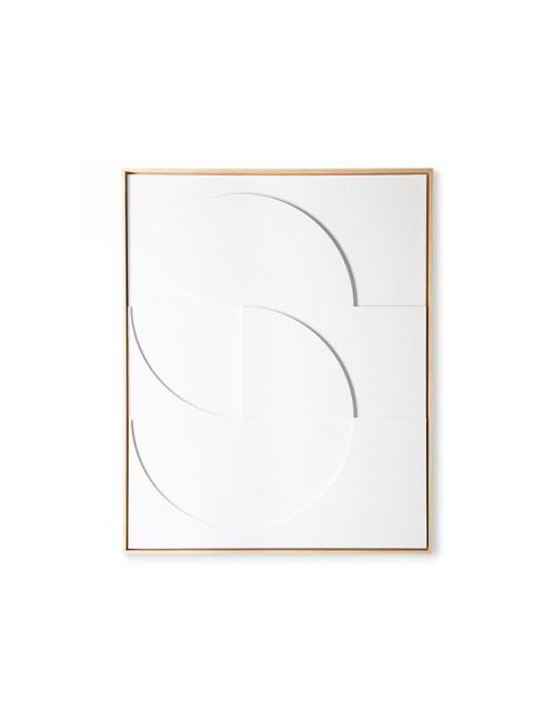 Ingekaderd Relief Schilderij | wit large 83x103cm