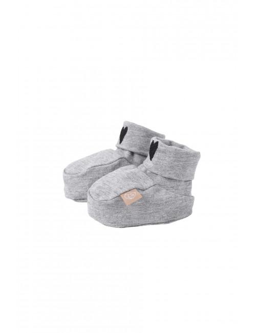Babyslofjes | grijs melee / hartje