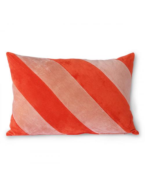 Striped Velvet Kussen | red/pink
