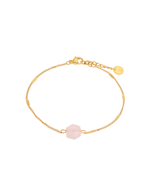 Armbandje Rose Quartz Hexagon | goud