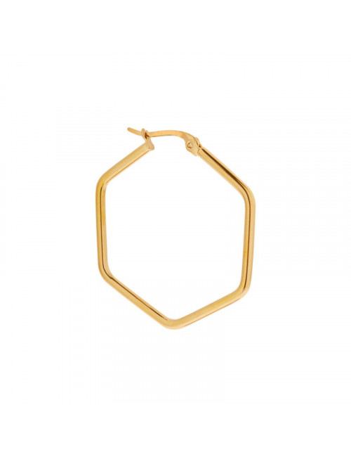 Single Large Hexagon Hoop | goud