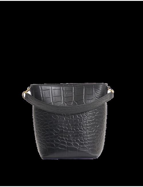Bobbi Bucket Bag Midi | black croco classic leather
