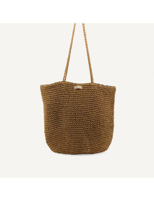 Tsue straw bag | check