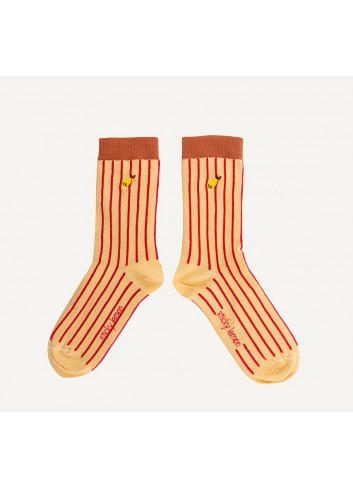 The Sticky Sis Club Sokken Thursday | stripes biscotti beige