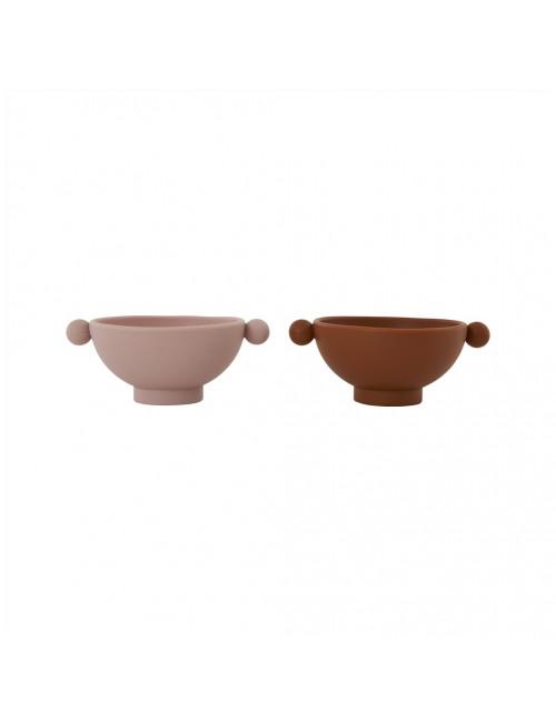 Tiny Inka Bowl (set van 2) | caramel/rose