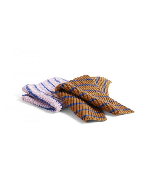 Keukendoek Melange (set van 2) | stripe/blue/brown/pink