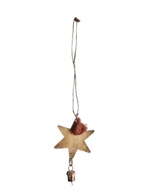 Kerstdecoratie | hanger ster met bel