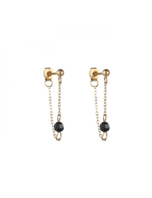 Oorbellen (set van 2) 14k goud | zwarte parel