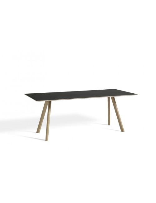 CPH 30 tafel L200 cm | op waterbasis gelakt eik/zwart linoleum