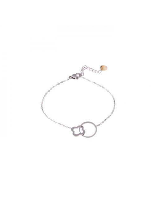 Bracelet zilver   circle & clover
