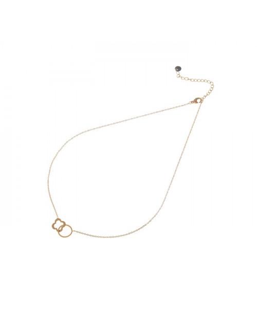 Halsketting 14k goud | circle & clover