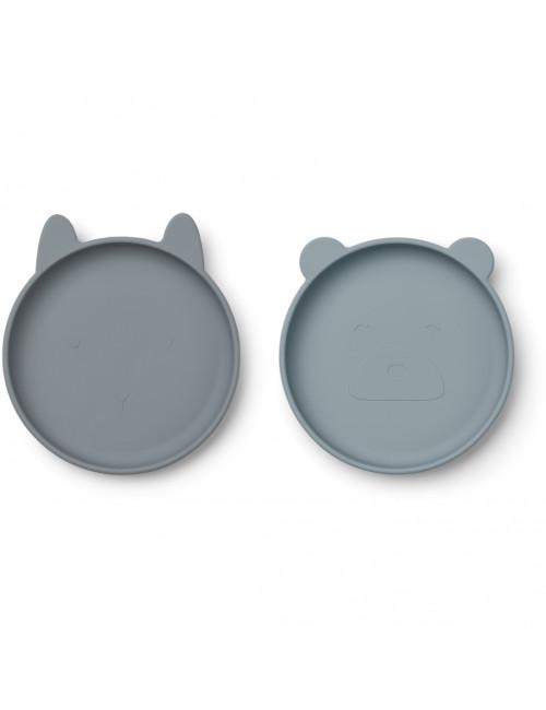 Olivia Siliconen bordjes (set van 2)   blue mix
